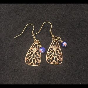 Bronze with Blue Beads Earrings